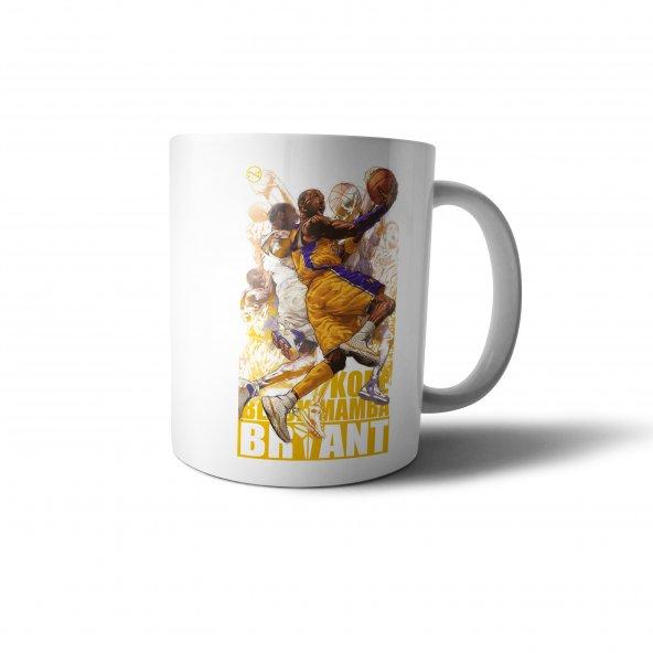 Kobe Bryant Black Mamba İllüstrasyon Baskılı Kupa Bardak - SPR022